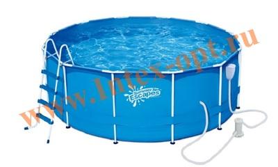 Summer Escapes Р20-1252-B Бассейн каркасный круглый 366х132 см (фильтр-насос 3м3 220В, лестница, настил, тент, набор для чистки DELUXE, скиммер)