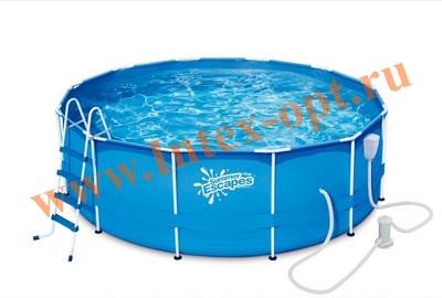 Summer Escapes Р20-1352-B Бассейн каркасный круглый 396х132 см (фильтр-насос 3м3 220В, лестница, настил, тент, набор для чистки DELUXE, скиммер)