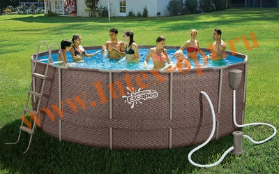 Summer Escapes Р20-1652-B Бассейн на опорах 488х132 см (фильтр-насос 3,8м3 220В, лестница, настил, тент, набор для чистки DELUXE, скиммер)