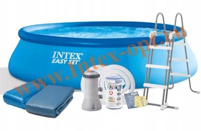 INTEX 28166(26166) Бассейн надувной 457х107 см (видео,фильтр-насос 3.8 м3/ч 220В,лестница,настил,тент)