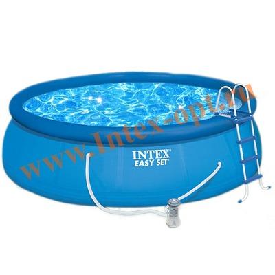 INTEX 28168(26168) Бассейн надувной 457х122 см (видео, фильтр-насос 3.8 м3/ч 220 В, лестница, настил, тент)