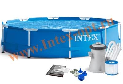 INTEX 28202(28702) Бассейн каркасный круглый 305х76 см( фильтр-насос 1.25 м3 + DVD инструкция)