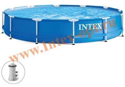 INTEX 28212(28712) Бассейн каркасный круглый 366х76 см( фильтр-насос 2 м3 + DVD инструкция)