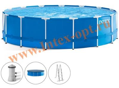 INTEX 56946(28242) Бассейн каркасный круглый 457х122 см(фильтр-насос 3.8 м3 220в, лестница, настил, тент, набор для чистки, скиммер + DVD инструкция)