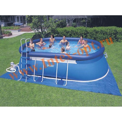 INTEX 28194(54934) Бассейн овальный надувной с металлическим каркасом 610х366х122 см( насос-фильтр 5.7 м3 220в, лестница, настил, тент + DVD инструкция)
