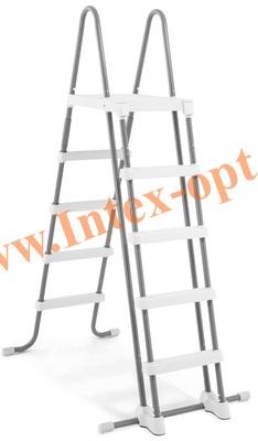 INTEX 28074(28077) INTEX Лестница для каркасных и надувных бассейнов 132 см ( с площадкой)