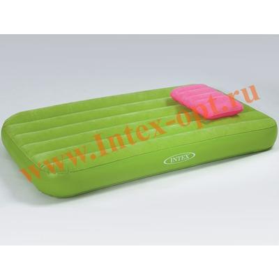 INTEX 66801 Детский односпальный надувной матрас Cozy Kidz Airbed 88х157х18см зелёный (без насоса)