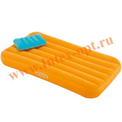 INTEX 66801 Детский односпальный надувной матрас Cozy Kidz Airbed 88х157х18см оранжевый (без насоса)