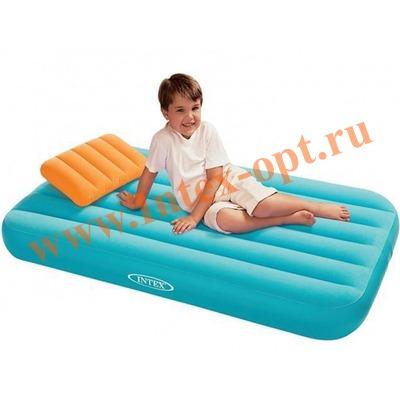 INTEX 66801 Детский односпальный надувной матрас 88х157х18см Cozy Kidz Airbed голубой (без насоса)