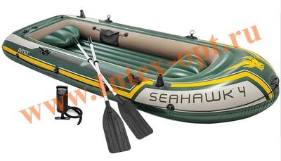 INTEX 68351 Четырёхместная надувная лодка Seahawk-4 Set 351х145х48см(алюминиевые вёсла и ручной насос)