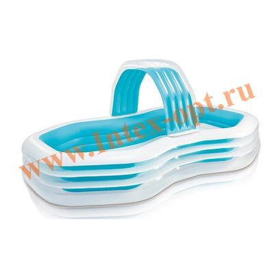 INTEX 57198 Надувной семейный бассейн с сиденьем и водопадом Swim Center Family Cabana Pool 310х188х130 см (от 3 лет)