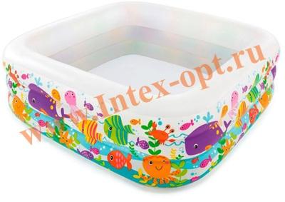 INTEX 57471 Надувной детский бассейн Аквариум Swim Center Clearview Aquarium Pool 159х159х50 см(от 3 лет)