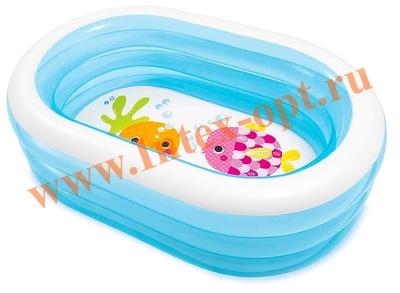 INTEX 57482 Надувной детский овальный бассейн Ahoy Pirate Friends Pool 163х107х46 см (от 3 лет)