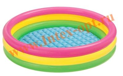 INTEX 58924 (57104)Надувной детский бассейн с надувным полом Радуга Sunset Glow Baby Pool 86х25 см(от 1 до 3 лет)