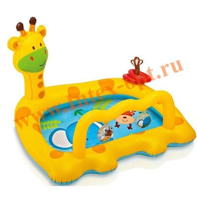 INTEX 57105 Надувной детский бассейн Жираф Smiley Giraffe Baby Pool 112х91х72 см(от 1 до 3 лет)