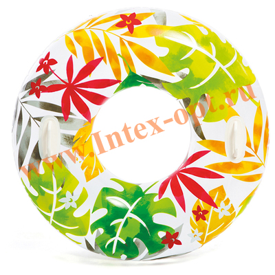 INTEX 58263 Надувной круг для плавания «Цветы», с ручками, d=97 см, от 9 лет.