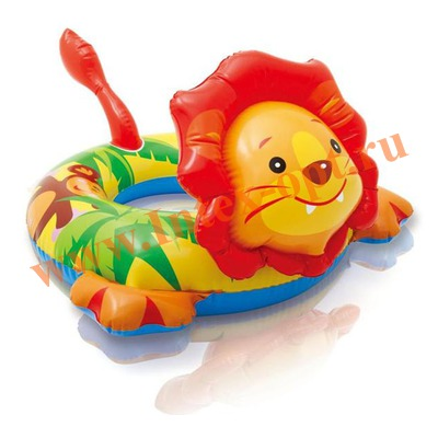 INTEX 58221 Круг надувной для плавания лев Big Animal Rings 72х66 см(от 3 до 6 лет)
