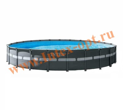 INTEX 28762 Бассейн каркасный круглый 732х132 см (видео, фильтр-насос 220В, лестница, тент, настил)