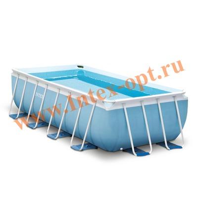 INTEX 28316(26788/26350) Бассейн каркасный прямоугольный 400х200х100 см (видео, фильтр-насос 220В, лестница)