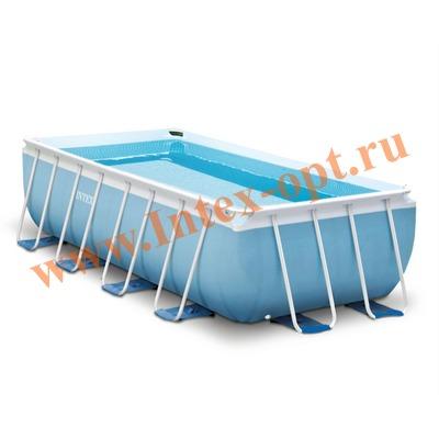 INTEX 28318(26792) Бассейн каркасный прямоугольный 488х244х107 см (видео, фильтр-насос 220В, лестница, тент, настил)