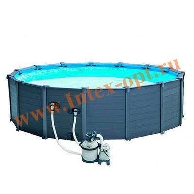 INTEX 28382(26384) Бассейн каркасный круглый 478х124 см Graphite Grey Panel Pools (видео, песочный фильтр-насос 4,5m3, лестница, тент, настил)