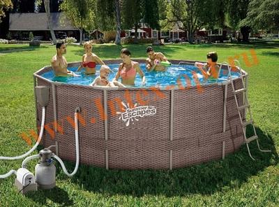 Summer Escapes Р20-1252-S Бассейн на опорах 366х132 см (песчаный фильтр-насос 4,1 м3/ч 220В, лестница, настил, тент, набор для чистки DELUXE, скиммер)