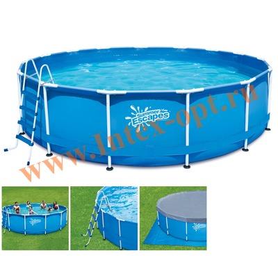 Summer Escapes Р20-1248-Z Бассейн каркасный круглый 366х122 см (лестница, настил, тент)