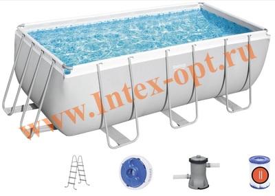 BestWay Бассейн каркасный прямоугольный 412х201х122 см (картриджный фильтр-насос 220В, лестница)