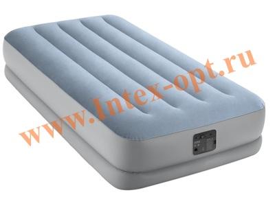 INTEX 64166 Кровать надувная Raised Comfort, 99 х 191 х 36 см, встроенный насос, 220 В
