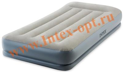 INTEX 64116 Кровать надувная Pillow Rest Twin, 99х191х30 см, с подголовником, со встроенным насосом 220В.