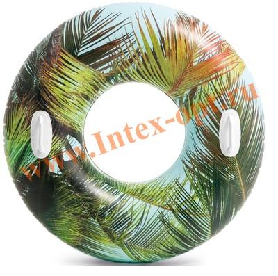 INTEX 58263 Надувной круг для плавания «тропики» с ручками, d=97 см, от 9 лет.