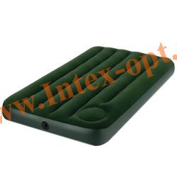 INTEX 66927 Односпальный надувной матрас Downy Bed 99х191х22см (с встроенным ножным насосом)