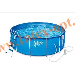 Summer Escapes Бассейн на опорах 366х122 см (фильтр-насос 3м3 220В, лестница, настил, тент, набор для чистки DELUXE, скиммер)