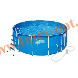 Summer Escapes Бассейн на опорах 366х132 см (фильтр-насос 3м3 220В, лестница, настил, тент, набор для чистки DELUXE, скиммер)