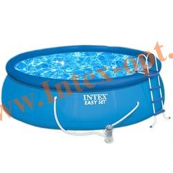 INTEX 28164(54914) Бассейн надувной 457х91см (фильтр-насос 3.8 м3/ч 220В,лестница,настил под бассейн,тент)