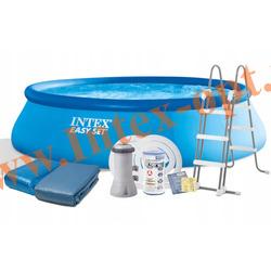 INTEX 26166 Бассейн надувной EASY SET 457х107 см,(картриджный фильтр-насос 3.785 л/ч ,лестница,настил под бассейн,тент-накидка на бассейн)