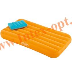 INTEX 66801 Детский односпальный надувной матрас(матрац) Cozy Kidz Airbed 88х157х18 см(без насоса)оранжевый