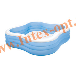 INTEX 57495 Надувной семейный бассейн Beach Wave Swim Center Pool 229х229х56 см(от 6 лет)