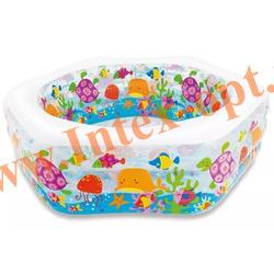 INTEX 56493 Надувной семейный бассейн с надувным полом Риф Ocean Reef Pool 191х178х61 см(от 6 лет)