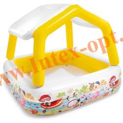 INTEX 57470 Надувной детский бассейн со съёмным тентом Sun Shade Pool 157х157х122 см(от 2 лет)