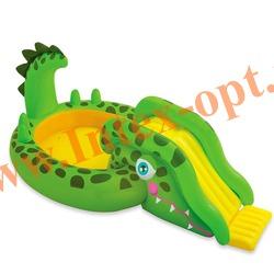 INTEX 57132 Надувной игровой центр-бассейн с фонтанчиком и горкой Крокодил Gator Play Center 251х140х86 см(от 3 лет)