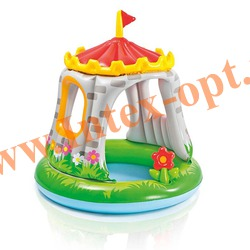 INTEX 57122 Надувной детский бассейн с навесом Замок Royal Castle Baby Pool 122х122 см(от 1 до 3 лет)