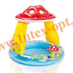 INTEX 57114 (57407)Надувной детский бассейн с навесом и надувным полом Грибок Mushroom Baby Pool 102х89 см(от 1 до 3 лет)