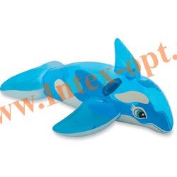 INTEX 58523 Надувная касатка для игр на воде Lil Whale Ride-On 152х114 см(от 3 лет)без насоса
