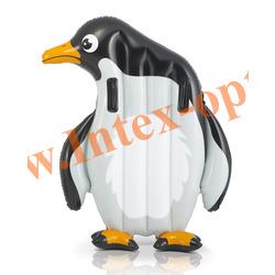 INTEX 58151 Надувной плотик для плавания с ручками Пингвин Animal Rider 114х94 см(от 6 лет)без насоса