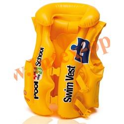 INTEX 58660 Жилет надувной для плавания Deluxe Swim Vest Pool School Step-2 50х47 (от 3 до 6 лет)