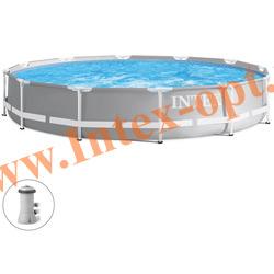 INTEX 28712(26712) Бассейн каркасный круглый 366х76 см (с фильтр-насосом 220В)