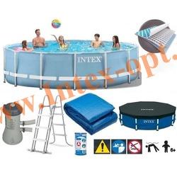 INTEX 28728 Бассейн каркасный круглый 457х84 см (видео,фильтр-насос 220В, лестница, тент, настил)