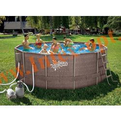 Summer Escapes Бассейн на опорах 366х132 см (песчаный фильтр-насос 4,1 м3/ч 220В, лестница, настил, тент, набор для чистки DELUXE, скиммер)