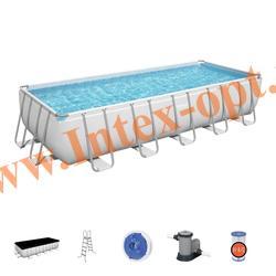 BestWay Бассейн каркасный Power Steel 640х274х132см, картриджный фильтр-насос 5678л/ч, лестница, тент.